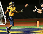 Althoff wide receiver Jordan Warner tosses the ball back to an official after he ran in a touchdown. Mater Dei played football at Althoff on Friday September 13, 2019. <br /> Tim Vizer/Special to STLhighschoolsports.com