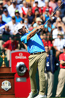 Olympic Gold Medalist Michael Phelps (USA) tees off the 1st tee for the Captains/Celebrity scramble exhibition during Monday's Practice Day of the 39th Ryder Cup at Medinah Country Club, Chicago, Illinois 25th September 2012 (Photo Eoin Clarke/www.golffile.ie)