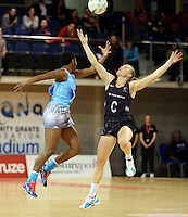 16.07.2015 Silver Ferns Laura Langman in action during the Silver Fern v Fiji netball test match played at Te Rauparaha Arena in Porirua. Mandatory Photo Credit ©Michael Bradley.