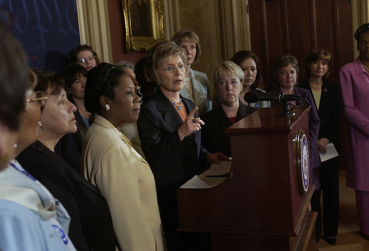 Sen. Barbara Boxer, D-Ca., speaks to fellow women Senators and Representatives before a news conference with the Coalition for a Fair and Independent Judiciary to speak out on saving the filibuster and preventing an abuse of power..