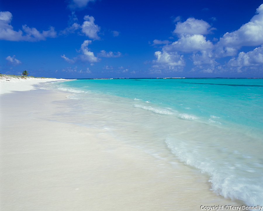 Anguilla, BWI<br /> Calm surf, white sand beach and turquoise waters of Upper Shoal Bay, Caribbean Sea