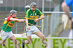 Darren Dineen Kerry clears under pressure Craig Doyle Carlow during their Allianz Hurling league clash in Fitzgearald Stadium on Sunday