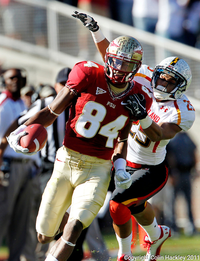 TALLAHASSEE, FL 10/22/11-FSU-MARY102211 CH-Florida State's Rodney Smith is collered by Maryland's Dexter McDougle during first half action Saturday at Doak Campbell Stadium in Tallahassee. .COLIN HACKLEY PHOTO