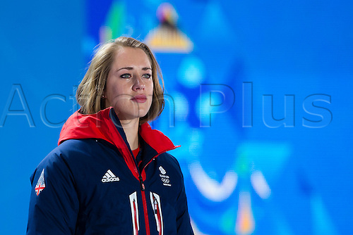 15.02.2014 Sochi, Krasnodar Krai, Russia.   A tearful Lizzy YARNOLD (GBR) waits to receive her Gold medal during the Medal Ceremony for the Women's Skeleton at the Sochi Medals Plaza, Coastal Cluster - XXII Olympic Winter Games
