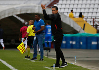 MANIZALES - COLOMBIA, 28-09-2019: Aldo Bobadilla director técnico del Independiente Medellín.Acción de juego entre los equipos  del Once Caldas  y el Independiente Medellín  durante partido por la fecha 13 Liga Águila II 2019 jugado en el estadio Palogrande de la ciudad de Manizales. /Aldo Bobadilla coach of Independiente Medellin. Action game between teams  Once Caldas and Independiente Medellin during the match for the date 13 of Liga Aguila II 2019 played at the Palogrande Stadium in Manizales city. Photo: VizzorImage / Santiago Osorio / Contribuidor