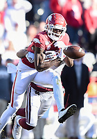 NWA Democrat-Gazette/CHARLIE KAIJO Mississippi State cornerback Martin Emerson (1) breaks up a pass intended for Arkansas wide receiver Mike Woods (8), Saturday, November 2, 2019 during the second quarter of a football game at Donald W. Reynolds Razorback Stadium in Fayetteville. Visit nwadg.com/photos to see more photographs from the game.