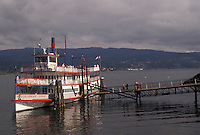 """AJ3730, Columbia River, paddle wheeler, Cascade Locks, Columbia River Gorge, Oregon, Sternwheeler """"""""Columbia Gorge"""""""" a tourboat is moored at a dock at Cascade Locks Marina Park on the Columbia River in the state of Oregon."""