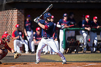 Ryan McMillen (10) of the Shippensburg Raiders at bat against the Belmont Abbey Crusaders at Abbey Yard on February 8, 2015 in Belmont, North Carolina.  The Raiders defeated the Crusaders 14-0.  (Brian Westerholt/Four Seam Images)