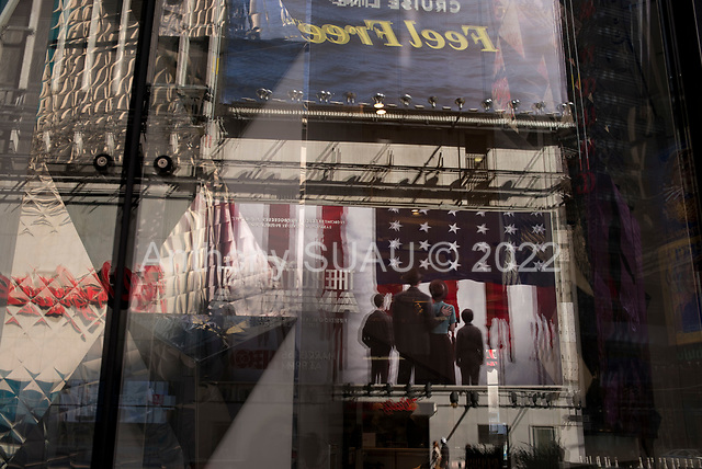 New York, New York<br /> March 18, 2020<br /> 11:24 AM<br /> <br /> Manhattan under coronavirus pandemic. <br /> <br /> Closed shops theaters, restaurants, bars, offices and clubs devoid Times Square of tourists.