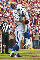 Landover, MD - September 16, 2018: Indianapolis Colts running back Nyheim Hines (21) celebrates after a touchdown during the  game between Indianapolis Colts and Washington Redskins at FedEx Field in Landover, MD.   (Photo by Elliott Brown/Media Images International)
