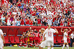 Canada team group line-up (CAN), JUNE 21, 2015 - Football / Soccer : Canada team member <br /> celebrates after scoring team's 1st goal during the FIFA Women's World Cup Canada 2015 Round of 16 match between Canada 1-0 Switzerland at BC Place Stadium, <br /> Vancouver, Canada. (Photo by Yusuke Nakansihi/AFLO SPORT)
