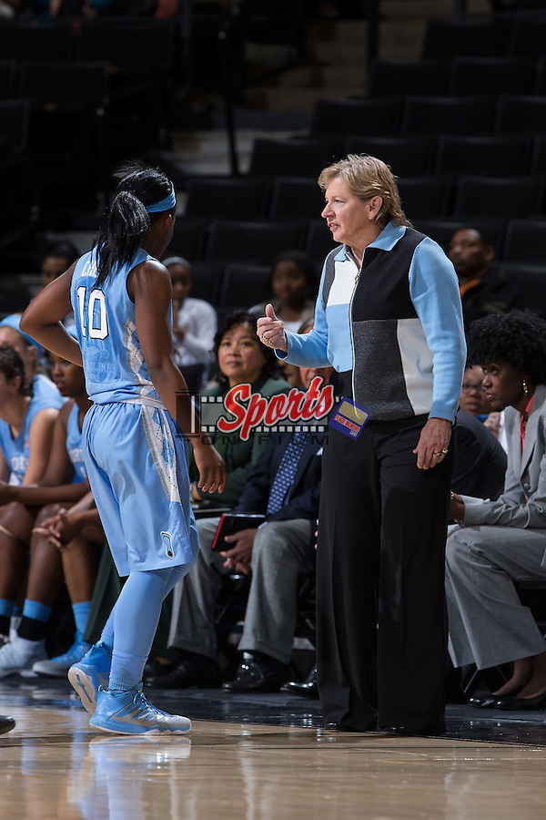 North Carolina Tar Heels head coach Sylvia Hatchell gives instructions to Jamie Cherry (10) during second half action against the Wake Forest Demon Deacons at the LJVM Coliseum on January 21, 2016 in Winston-Salem, North Carolina.  The Demon Deacons defeated the Tar Heels 75-63.  (Brian Westerholt/Sports On Film)
