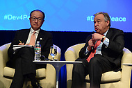 "Washington, DC - April 21, 2017:  United Nations Secretary General Antonio Guterres and World Bank President Jim Yong Kim participate in the""Financing for Peace"" panel discussion during the annual Spring Meetings of the IMF/World Bank Group at the IMF headquarters in the District of Columbia April 21, 2017.  (Photo by Don Baxter/Media Images International)"