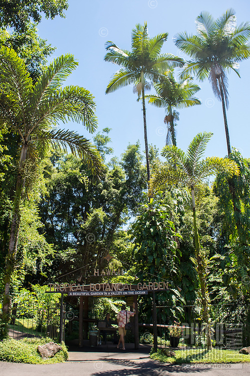 The entrance to the Hawaii Tropical Botanical Garden in Papa'ikou near Hilo, Big Island of Hawai'i.