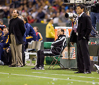Head coaches of the LA Galaxy Bruce Arena (l) and Chivas USA Martin Vasquez (r). The LA Galaxy defeated Chivas USA 2-0 during the Super Clasico at Home Depot Center stadium in Carson, California Thursday evening April 1, 2010.  .