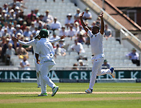 South Africa's Vernon Philander celebrates taking the wicket of England's Gary Ballance<br /> <br /> Photographer Stephen White/CameraSport<br /> <br /> Investec Test Series 2017 - Second Test - England v South Africa - Day 4 - Monday 17th July 2017 - Trent Bridge - Nottingham<br /> <br /> World Copyright &copy; 2017 CameraSport. All rights reserved. 43 Linden Ave. Countesthorpe. Leicester. England. LE8 5PG - Tel: +44 (0) 116 277 4147 - admin@camerasport.com - www.camerasport.com