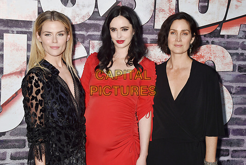 """HOLLYWOOD, CA - MAY 28: (L-R) Rachael Taylor, Krysten Ritter and Carrie-Anne Moss attend a Special Screening Of Netflix's """"Jessica Jones"""" Season 3 at ArcLight Hollywood on May 28, 2019 in Hollywood, California.<br /> CAP/ROT/TM<br /> ©TM/ROT/Capital Pictures"""