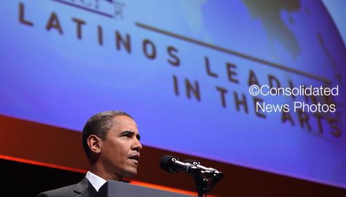 Washington, DC - September 16, 2009 -- United States President Barack Obama speaks at the Congressional Hispanic Caucus Institute (CHCI) dinner in Washington DC on September 16, 2009..Credit: Dennis Brack - Pool via CNP