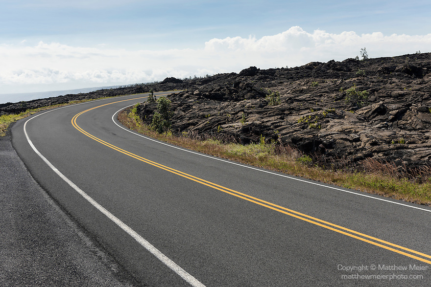 Hawai'i Volcanoes National Park, Big Island of Hawaii, Hawaii; the Chain of Craters Road cuts through the 1972 lava flow on its way down to the Pacific Ocean