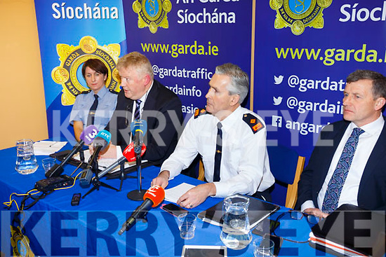 Detective Chief Walter O'Sullivan(Serious Crime Review Team-Dublin) speaking at the GARDA Press conference in Cahersiveen Garda Station on Tuesday with left Garda Breda O'Donoghue(Cahersiveen) and right Superintendent Flor Murphy(Killarney) & Detective Inspector John Brennan(Senior Investigating Officer).