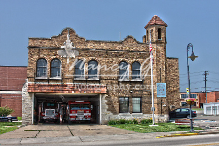 Village of Menomonee Falls Wisconsin Fire Station 1 built in 1929 on Appleton Avenue.  HDR image