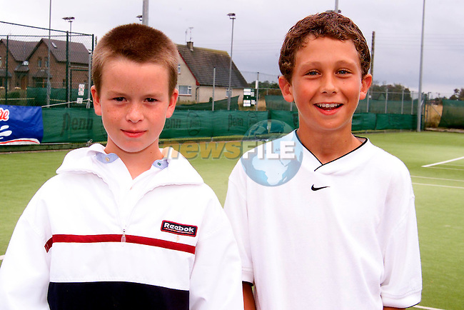 Paul Kelleher and Conor McGann, winners in the under 12's doubles in the North East Open Tennis Championship at Laytown and Bettystown Tennis Club..Picture: Paul Mohan/Newsfile
