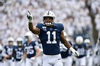UNIVERSITY PARK, PA - SEPTEMBER 14: Penn State LB Micah Parsons (11) points to the crowd during the Pittsburgh Panthers (Pitt) vs. Penn State Nittany Lions September 14, 2019 at Beaver Stadium in University Park, PA. (Photo by Randy Litzinger/Icon Sportswire)