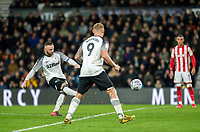 31st January 2020; Pride Park, Derby, East Midlands; English Championship Football, Derby County versus Stoke City; Wayne Rooney of Derby County scoring from a free kick in the 67th minute for 3-0