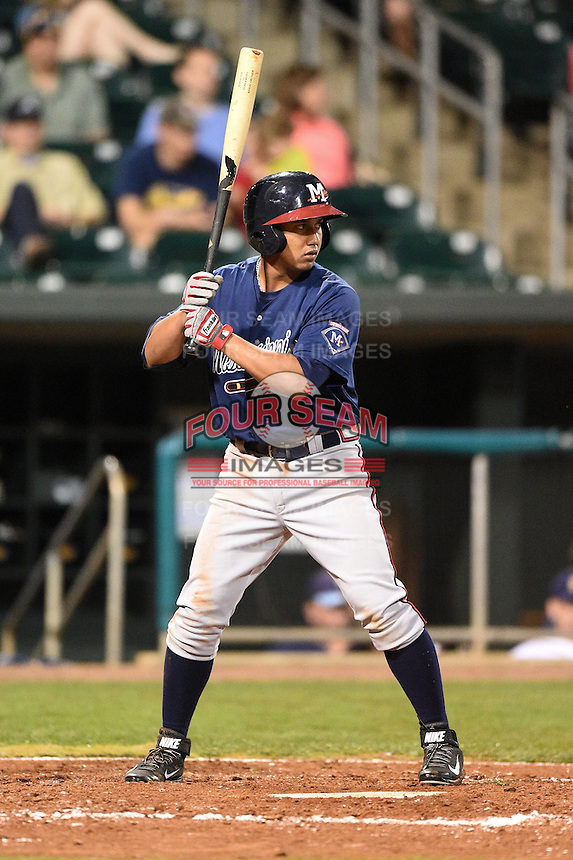 Mississippi Braves second baseman Emerson Landoni (19) at bat during a game against the Montgomery Biscuits on April 21, 2014 at Riverwalk Stadium in Montgomery, Alabama.  Montgomery defeated Mississippi 6-2.  (Mike Janes/Four Seam Images)