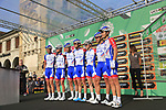 Groupama-FDJ at sign on before the start of the 112th edition of Il Lombardia 2018, the final monument of the season running 241km from Bergamo to Como, Lombardy, Italy. 13th October 2018.<br /> Picture: Eoin Clarke | Cyclefile<br /> <br /> <br /> All photos usage must carry mandatory copyright credit (© Cyclefile | Eoin Clarke)