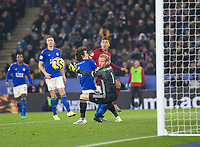 26th December 2019; King Power Stadium, Leicester, Midlands, England; English Premier League Football, Leicester City versus Liverpool; Roberto Firmino of Liverpool with the shot past Caglar Soyuncu of Leicester City and Leicester City Goalkeeper Kasper Schmeichel   - Strictly Editorial Use Only. No use with unauthorized audio, video, data, fixture lists, club/league logos or 'live' services. Online in-match use limited to 120 images, no video emulation. No use in betting, games or single club/league/player publications