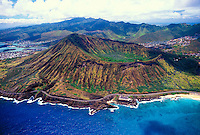 An aerial photo of Koko Head Crater. A once active, but now extinct, volcano  located along oahu's eastern coastline on Kalanianaola highway nearest Hanauma Bay and Halona Blowhole.