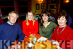 L-R Niall, Gail, Carol and Betty Kelly from Tralee enjoying the Kerry Choral Union fundraising quiz, in the Stokers Lodge, Tralee last Friday night.