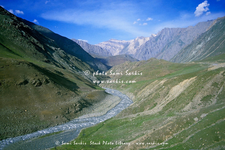 River between Srinagar and Leh in Ladakh, Kashmir, India.