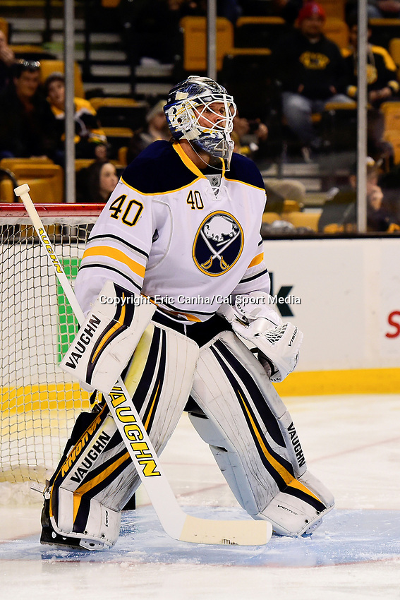 Saturday, December 31, 2016: Buffalo Sabres goalie Robin Lehner (40) warms up before the National Hockey League game between the Buffalo Sabres and the Boston Bruins held at TD Garden, in Boston, Mass. Boston defeats Buffalo 3-1.  Eric Canha/CSM