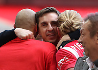 Gray Neville celebrates after the AFC Fylde vs Salford City, Vanarama National League Play-Off Final Football at Wembley Stadium on 11th May 2019