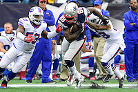 Sunday, October 2, 2016: New England Patriots tight end Martellus Bennett (88) runs the ball with pressure from Buffalo Bills inside linebacker Zach Brown (53) during the NFL game between the Buffalo Bills and the New England Patriots held at Gillette Stadium in Foxborough Massachusetts. Buffalo defeats New England 16-0. Eric Canha/Cal Sport Media