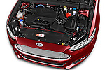 Car Stock 2015 Ford Mondeo Titanium 5 Door Hatchback Engine high angle detail view