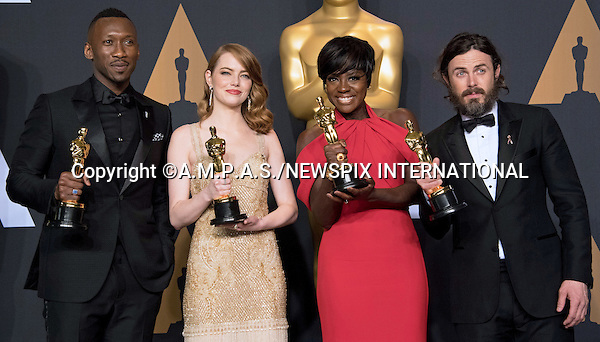 26.02.2017; Hollywood, USA: EMMA STONE, VIOLA DAVIS, CASEY AFFLECK and MAHERSHALA ALI<br /> Clutching their Awards - The OSCARs winners, backstage with their awards at the 89th Annual Academy Awards at the Dolby&reg; Theatre in Hollywood.<br /> Mandatory Photo Credit: &copy;AMPAS/Newspix International<br /> <br /> IMMEDIATE CONFIRMATION OF USAGE REQUIRED:<br /> Newspix International, 31 Chinnery Hill, Bishop's Stortford, ENGLAND CM23 3PS<br /> Tel:+441279 324672  ; Fax: +441279656877<br /> Mobile:  07775681153<br /> e-mail: info@newspixinternational.co.uk<br /> Usage Implies Acceptance of Our Terms &amp; Conditions<br /> Please refer to usage terms. All Fees Payable To Newspix International