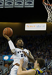 Nevada forward Jordan Caroline (24) shoots against San Jose State in the first half of an NCAA college basketball game in Reno, Nev., Wednesday, Jan. 9, 2019. (AP Photo/Tom R. Smedes)