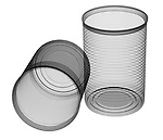 X-ray image of two uncrushed food cans (black on white) by Jim Wehtje, specialist in x-ray art and design images.