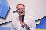 "English singer STING paricipates in Unveiling Ceremony of the Artwork-tapestry ""I Love Greece"" at Athens airport. In which Amnesty international participated too. The artist is Sophia Vari."