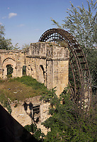 « Molino de la Albolafia », islamic water wheel (noria), downstream the roman bridge on the Guadalquivir river, Córdoba, Andalusia, Spain; This water wheel was in fact a roman mill to which a wheel was placed at the time of Abd-al-Rahman II (790 ? 852 AD) to raise the water of the river to the Caliphal Palace converted into the Episcopal Palace by the Catholic Kings. Picture by Manuel Cohen