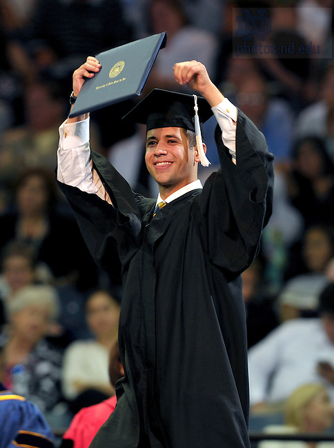 May 21, 2011; Graduate celebrating at the 2011 College of Arts & Letters Commencement ceremony...Photo by Matt Cashore/University of Notre Dame