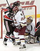 Dan Bertram, NU ?, Brett Motherwell, Cory Schneider - The Boston College Eagles defeated Northeastern University Huskies 5-3 on Saturday, November 19, 2005, at Kelley Rink in Conte Forum at Chestnut Hill, MA.