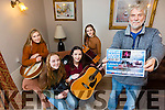 Cahersiveen Roots Weekend launches its 2017 program with a gig in Cráineens Music Room on Friday 25th November with Hank Wedel and support from Celtic Vibe, pictured here front Richie MacCarthy, back members of Celtic Vibe l-r; Clíodhna Guiney, Sarah Landers, Kelsey McCarthy, Caoimhe O'Shea and missing from photo Nathalie O'Connor.