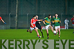 Cairan Keating Kerry in action with James Davis Cork in the Cabury Munster U21 Quarter Final at Austin Stack Park, Tralee on Wednesday night.