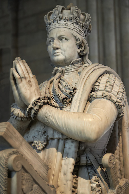 Tomb monument of Louis XVI (1754 - 1793) king of France 1774 to 1792. The Gothic Cathedral Basilica of Saint Denis ( Basilique Saint-Denis ) Paris, France. A UNESCO World Heritage Site.