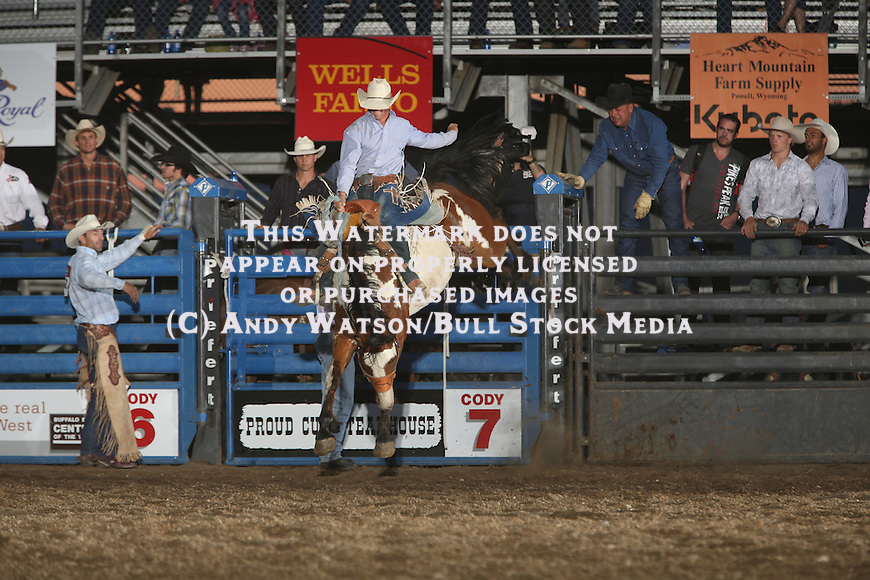 Zachariah Phillips, Big Wig, Cody PRCA rodeo, 7/2 perf. Photo by Andy Watson. All Photos (C) Watson Rodeo Photos, INC. Any use must have written Permission.