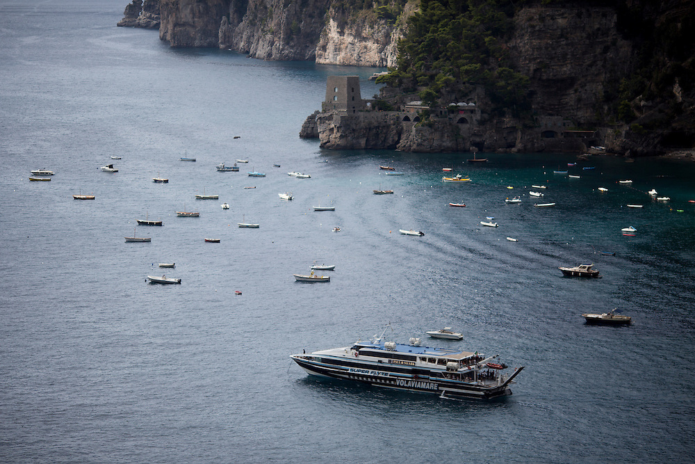 Boats are seen docked in the harbor on Sunday, Sept. 20, 2015, in Positano, Italy. (Photo by James Brosher)